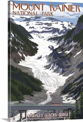 Mount Rainier National Park - Nisqually Glacier and Red Bus: Retro Travel Poster