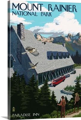 Mount Rainier National Park -  Paradise Inn: Retro Travel Poster