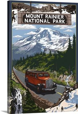 Mount Rainier National Park: Retro Travel Poster