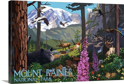 Mount Rainier National Park - Wildlife Utopia: Retro Travel Poster