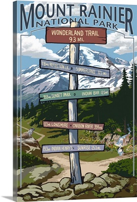 Mount Rainier National Park -  Wonderland Trail Destination Sign: Retro Travel Poster