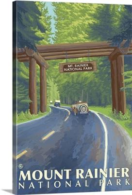 Mount Rainier - Nisqually Entrance: Retro Travel Poster