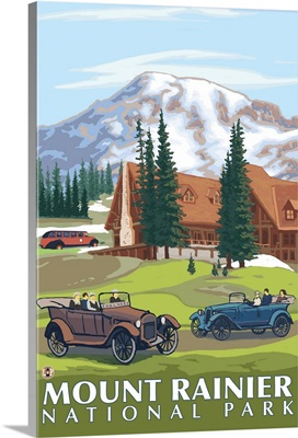 Mount Rainier - Paradise Lodge and Chalmers: Retro Travel Poster