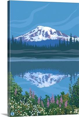 Mount Rainier - Reflection Lake - Image Only: Retro Poster Art