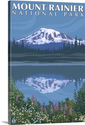 Mount Rainier - Reflection Lake: Retro Travel Poster