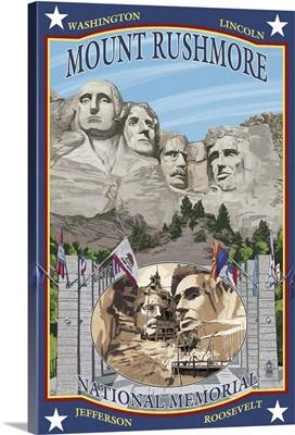 Mount Rushmore National Memorial, SD: Retro Travel Poster
