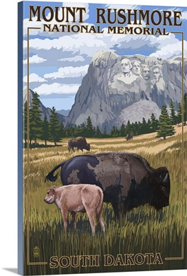 Mount Rushmore National Memorial, South Dakota - Bison Scene: Retro Travel Poster
