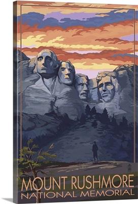 Mount Rushmore National Memorial, South Dakota - Sunset View: Retro Travel Poster
