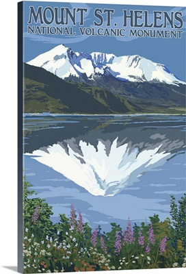 Mount St. Helens, Washington - Before and After Views: Retro Travel Poster