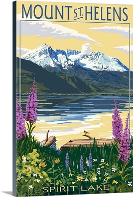 Mount St. Helens, Washington - Spirit Lake: Retro Travel Poster