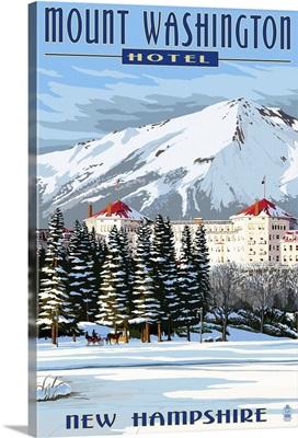 Mount Washington Hotel in Winter - Bretton Woods, New Hampshire: Retro Travel Poster