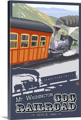 Mount Washington, New Hampshire - Cog Railroad: Retro Travel Poster