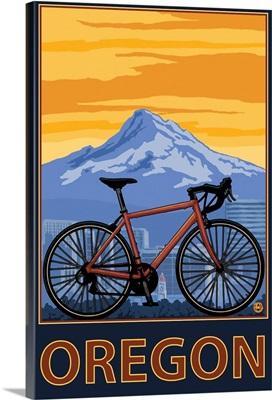 Mountain Bike and Mt. Hood - Oregon: Retro Travel Poster