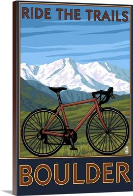 Mountain Bike - Boulder, Colorado: Retro Travel Poster