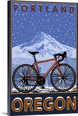 Mountain Bike in Snow - Portland, Oregon: Retro Travel Poster