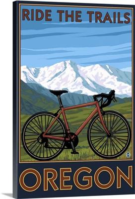 Mountain Bike (Mountain) - Oregon: Retro Travel Poster