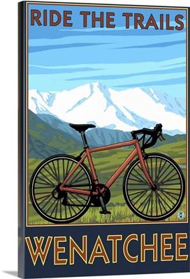 Mountain Bike Scene - Wenatchee, WA: Retro Travel Poster