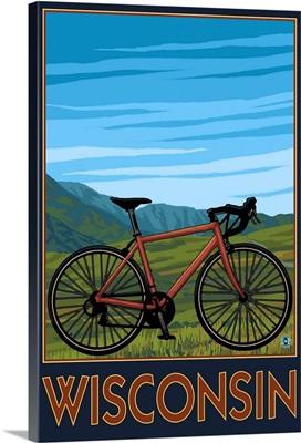 Mountain Bike Scene - Wisconsin: Retro Travel Poster