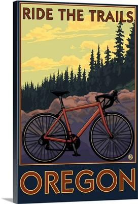 Mountain Bike (trail) - Oregon: Retro Travel Poster