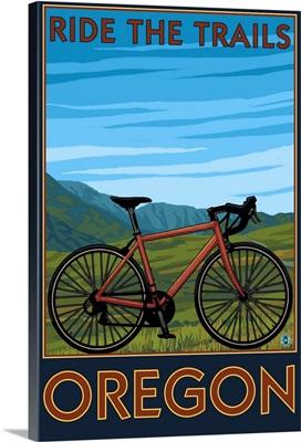 Mountain Bike (valley) - Oregon: Retro Travel Poster