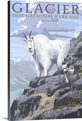 Mountain Goat and Kid - Glacier National Park, Montana: Retro Travel Poster