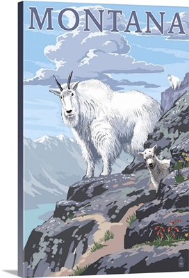 Mountain Goat and Kid - Montana: Retro Travel Poster