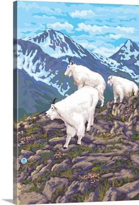 Mountain Goat Family: Retro Poster Art
