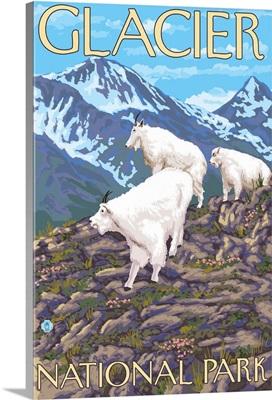 Mountain Goats Scene - Glacier National Park, MT: Retro Travel Poster