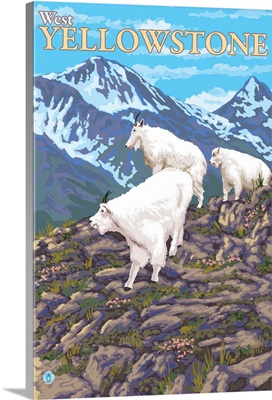 Mountain Goats Scene - West Yellowstone, MT: Retro Travel Poster