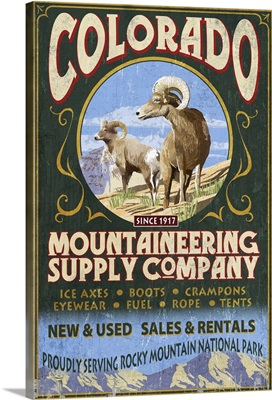 Mountaineering Supply - Rocky Mountain National Park: Retro Travel Poster