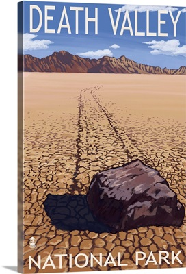 Moving Rocks - Death Valley National Park: Retro Travel Poster