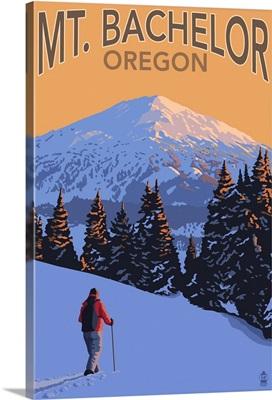 Mt. Bachelor and Skier - Oregon: Retro Travel Poster
