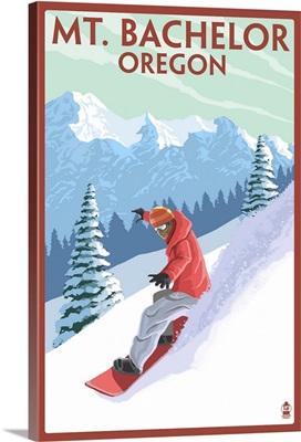 Mt. Bachelor, Oregon - Snowboarder Scene : Retro Travel Poster