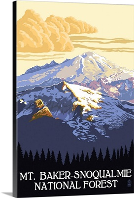Mt. Baker Snoqualmie National Forest: Retro Travel Poster