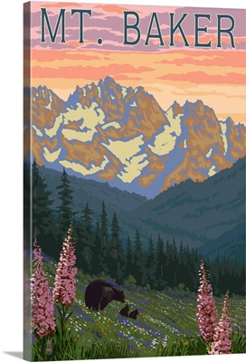 Mt. Baker, Washington - Bears and Spring Flowers: Retro Travel Poster