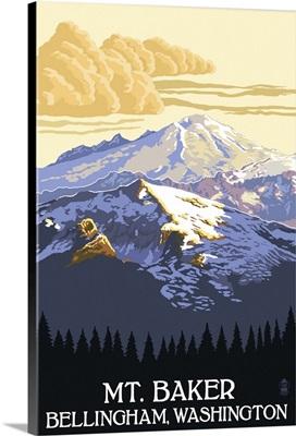 Mt. Baker, Washington: Retro Travel Poster