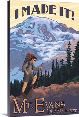 Mt. Evans, Colorado - Hiking Scene: Retro Travel Poster