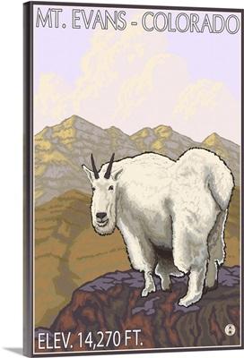 Mt. Evans, Colorado - Mountain Goat: Retro Travel Poster