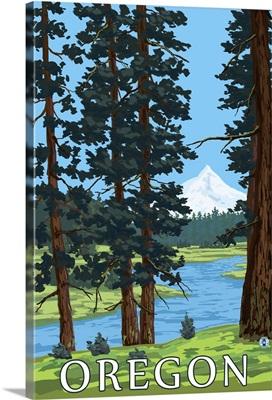 Mt. Hood and River - Oregon Scene: Retro Travel Poster