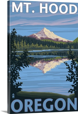 Mt. Hood from Lost Lake, Oregon: Retro Travel Poster