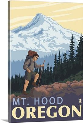 Mt. Hood Hiker Scene: Retro Travel Poster