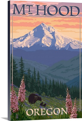 Mt. Hood, Oregon - Bear Family and Spring Flowers: Retro Travel Poster