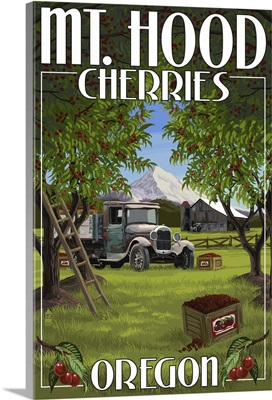 Mt. Hood, Oregon Cherries: Retro Travel Poster