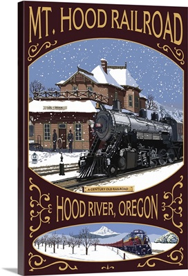 Mt. Hood Railroad Winter Scene - Hood River, OR- : Retro Travel Poster