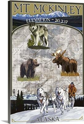 Mt. McKinley, Alaska - Topographical Map: Retro Travel Poster