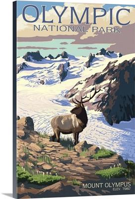 Mt. Olympus and Elk - Olympic National Park, Washington: Retro Travel Poster