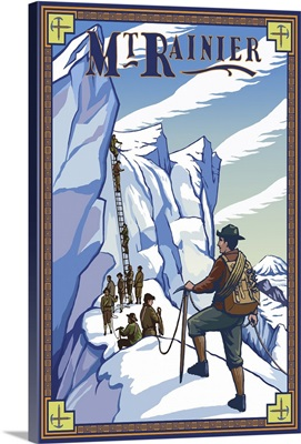 Mt. Rainier Ice Climbers: Retro Travel Poster