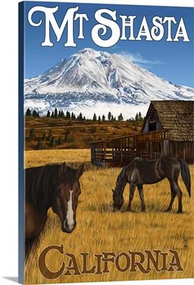 Mt. Shasta and Horses: Retro Travel Poster
