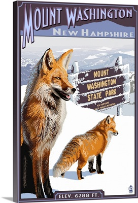 Mt. Washington, New Hampshire - Fox Scene: Retro Travel Poster