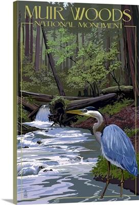 Muir Woods National Monument, California - Blue Heron: Retro Travel Poster